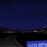 Notturno di Bologna dalla pianura (Bologna at night from the lowland).